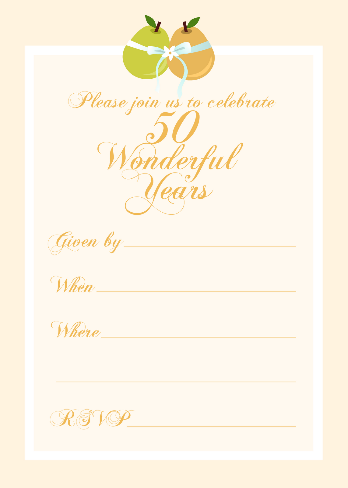 Free printable party invitations free 50th wedding for Template for 50th birthday invitations free printable