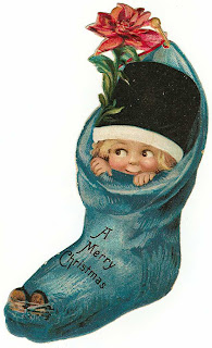 vintage Christmas stocking scrapbook embellishment