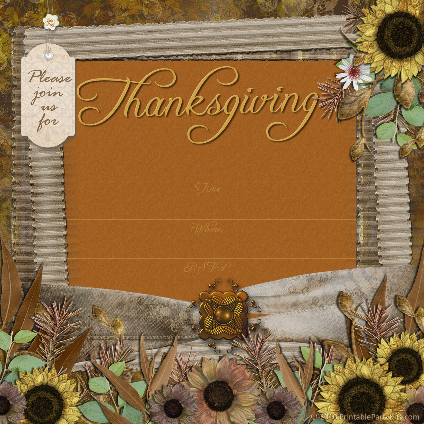 Free Printable Party Invitations Thanksgiving Dinner Party