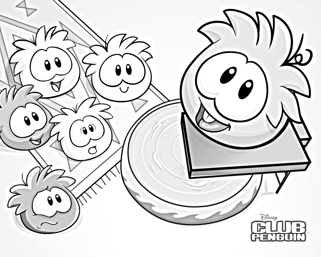 Dibujos para colorear de club penguin de puffles para for Club penguin coloring page