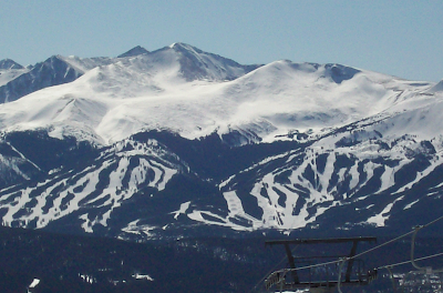 Breckenridge as seen from the top of the mountain at Keystone