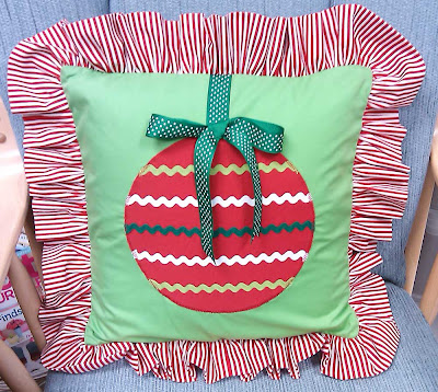 Pillow with green ribbon