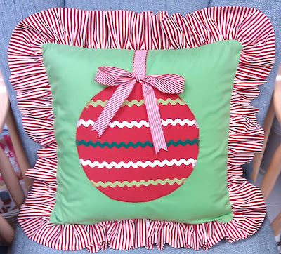 Pillow with red ribbon