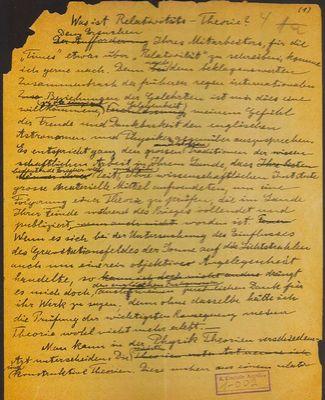 """Carta de Albert Einstein ao Jornal """"The Times"""" (em 1.919)..."""