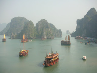 ships in harbour Halong Bay Vietnam