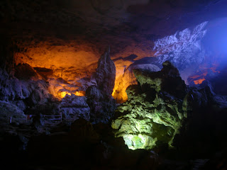 the caves in Halong Bay