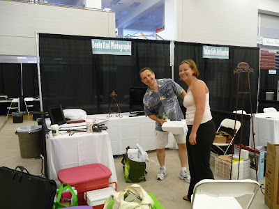 Jan and Samantha preparing Bridal Show booth