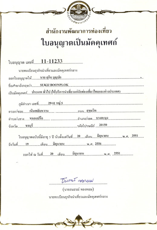 The certificate of Tour guide