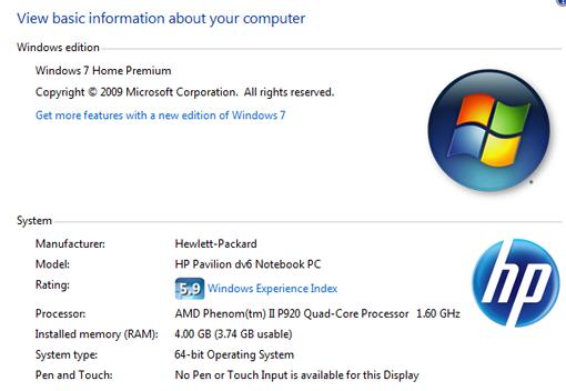 HP Pavilion dv6-3010 - Windows System