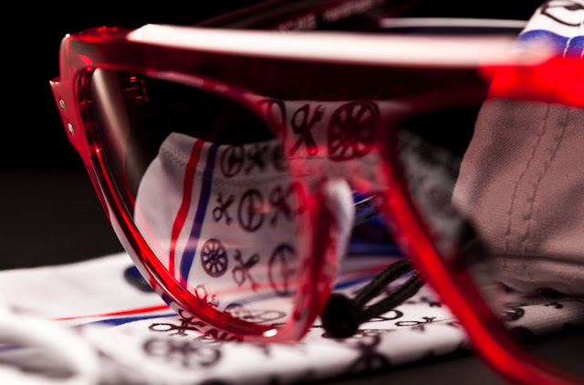 Thierry Lasry x L'Ecurie red and blue crystal sunglasses. Photo: Flo Huot de St Albin