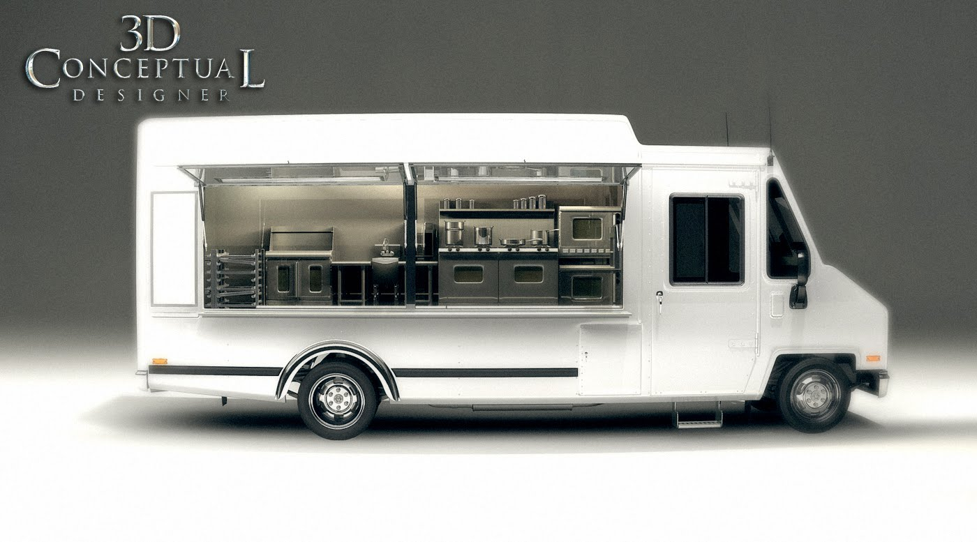 Exterior Of Food Truck Model With A Placeholder Kitchen