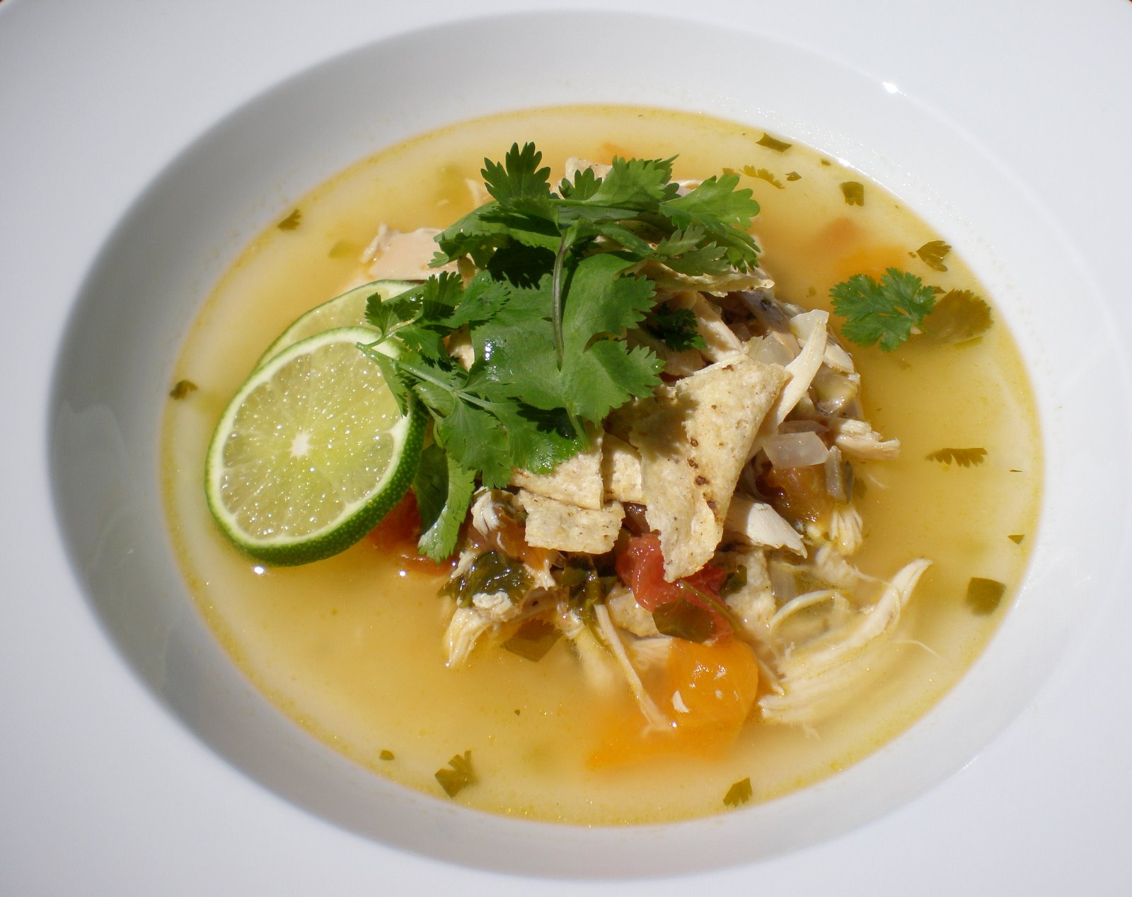 Authentic suburban gourmet chicken lime and chile soup