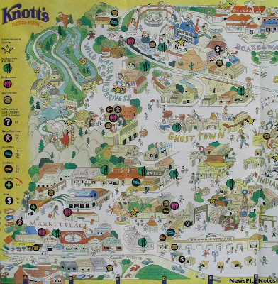 NewsPlusNotes: Knott's Berry Farm 1997 Map on disneyland map, oceans of fun map, legoland map, universal studios hollywood map, pink's hot dogs map, mt. olympus water & theme park map, kings dominion map, adventure city map, cedar point map, carowinds map, kings island map, ghost town in the sky map, california adventure map, magic kingdom map, kentucky kingdom map, islands of adventure map, wonderland park map, magic mountain map, canada's wonderland map, six flags map,