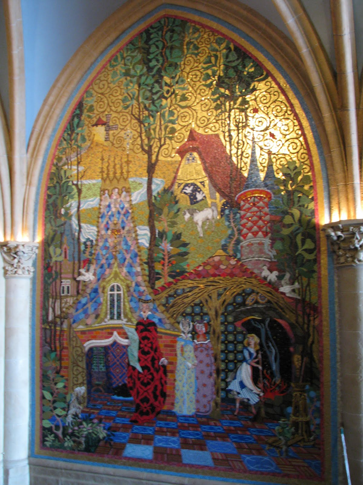 Cinderella castle mosaics in the magic kingdom disney for Cinderella castle mural