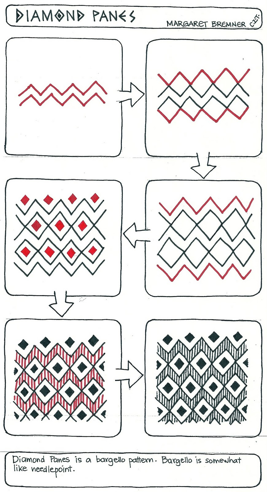 Enthusiastic artist diamond panes tangle instructions for Drawing patterns for beginners