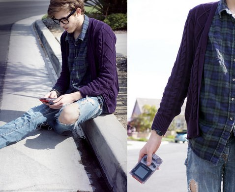 Ian Damien Coltzan  Purple+Cardi+from+Heritage,+Flannel+from+Vintage,+Union+Ripped+Jeans,+Purple+Gameboy+Color_)+__+_a+kid+at+heart+_+by+Adam+Gallagher+__+LOOKBOOK.nu