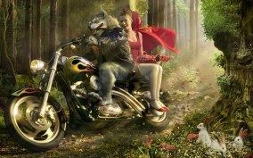 Красная Шапочка и волк на мотоцикле