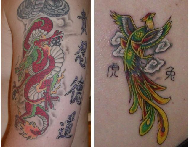 dragon and tiger tattoos. dragon,tribal tiger tattoo
