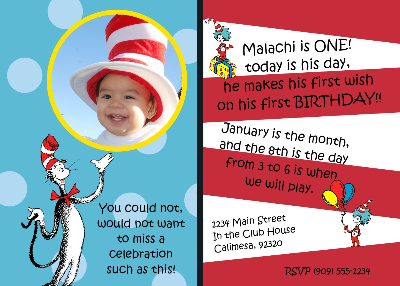 Stamp with Rose: Malachi\'s Birthday Invitation