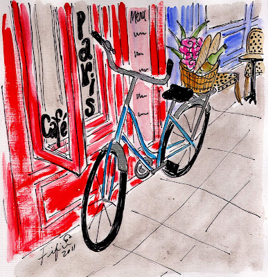 Pictures Of Paris Cafes. Café Paris Bicycle.