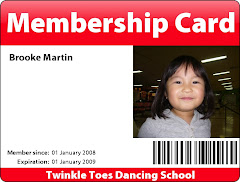 Twinkle Toes Dancing School Membership Card