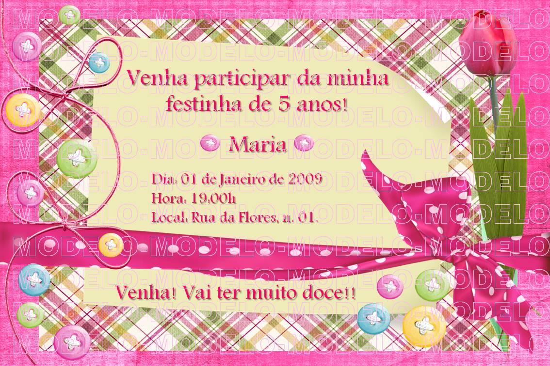 Modelo De Convite De Anivers  Rio De 5 Anos