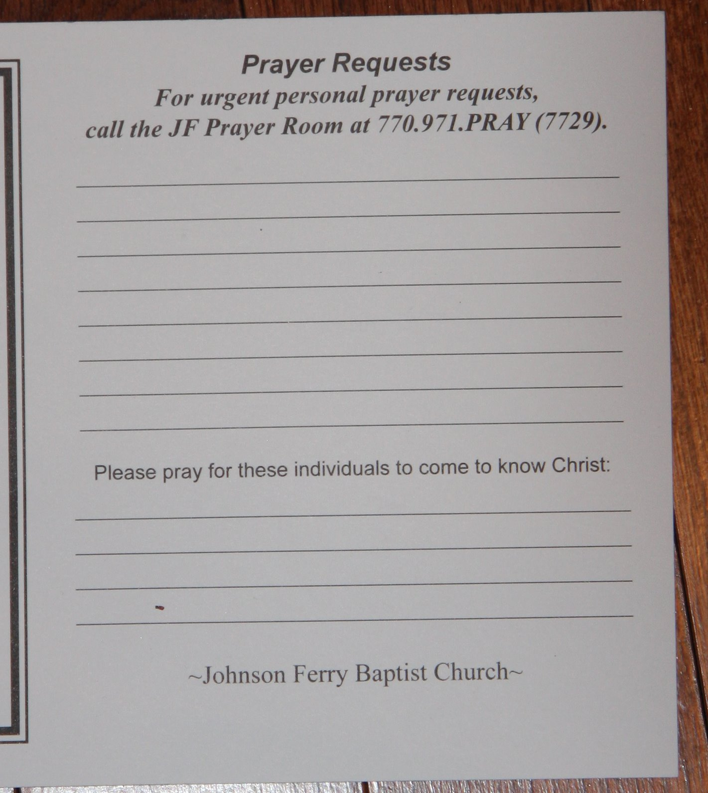 blessed by the intercessory prayers from johnson ferry baptist church