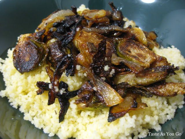 Roasted Brussels Sprouts and Caramelized Onions over Couscous | Taste As You Go