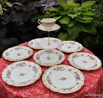 pretty Victorian cake stand tea set