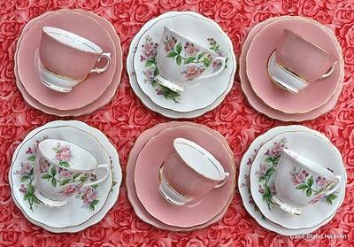 pink mix teacup trios