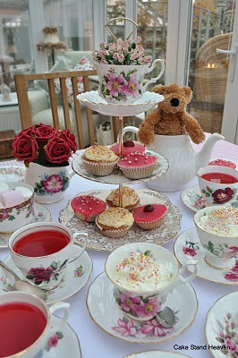 pink vintage tea set