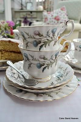 thistle pattern teacup set