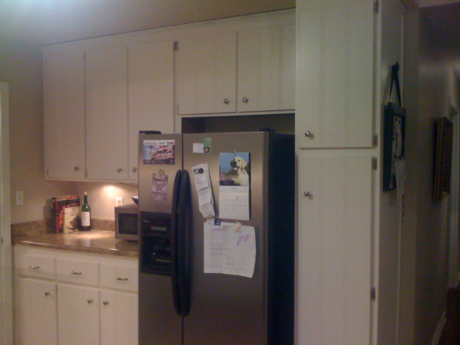 And here are the kitchen cabinets now: