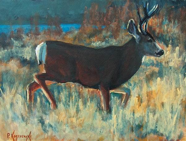 Mule Deer Buck Acrylic on board