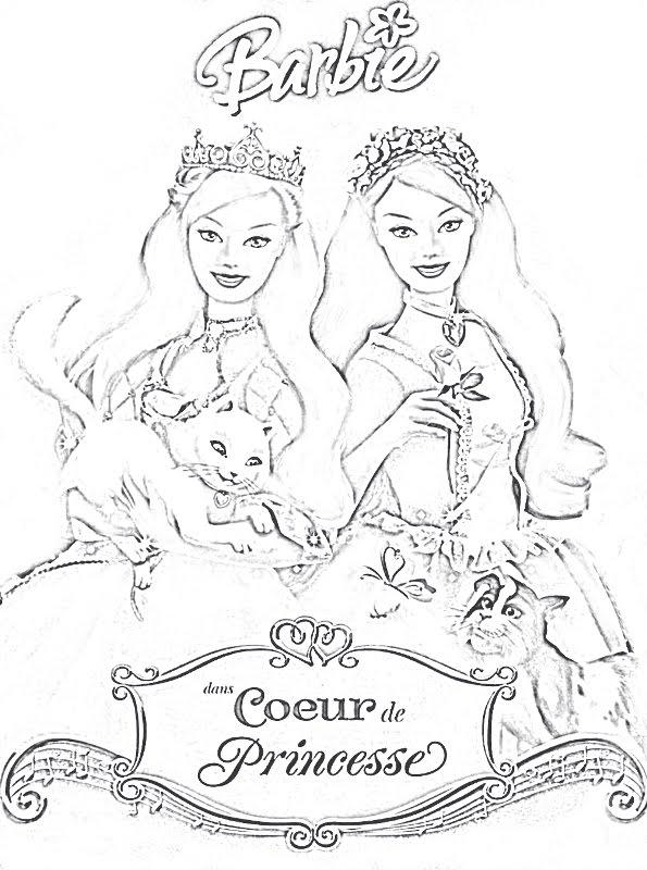 Coloriages Barbie à imprimer et dessins Barbie à télécharger - Barbie Princesse Coloriage