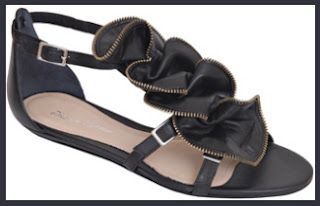 The House of Designer Handbags and Shoes: Pour La Victoire - Ella - Black Leather Ruffle Sandal