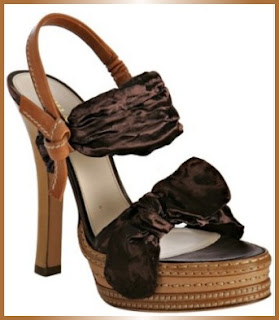 Designer's House: Prada Brown Satin Bow Platform Sandals