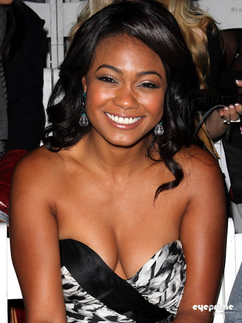 Tatyana Ali arrives at the WTB Spring 2011 Fashion Show in Hollywood, Oct 17