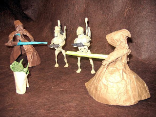 Yoda and squad facing robots