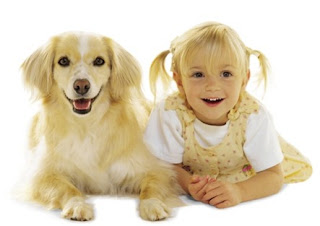 neat and tidy blonde girl and white dog