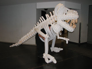dinasour skeleton alive in balloon world