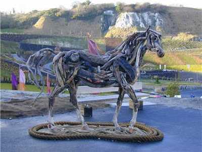 finished work of drifwood horse sculpture