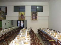 Asi recibimos en el Centro Social de la Basilica,  a los hermanos de la Plaza Congreso