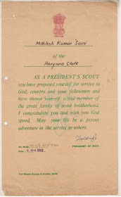 President's Scout Certificate