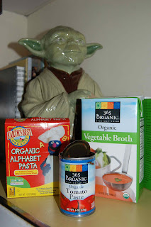 Yoda with Alphabet Pasta, Tomato Paste, Vegetable Stock