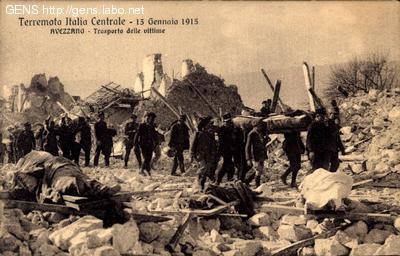 TERREMOTO ITALIA CENTRALE - 13 GENNAIO 1915 TRASPORTO DELLE VITTIME