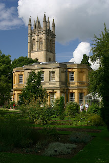 Magdalen College Bell Tower, as seen from the Botanic Garden.
