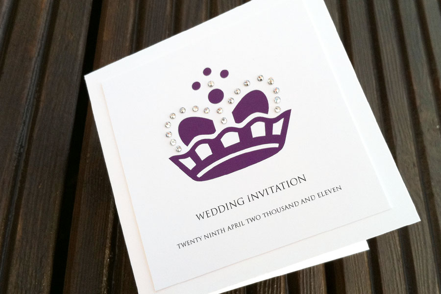 Queen wedding invitation 375 with 19 swarovski crystals layered card and