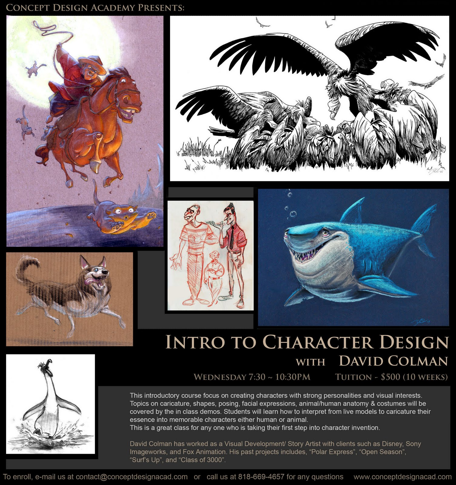 The Art Of Character Design With David Colman Volume 2 : Concept design academy quot intro to character with