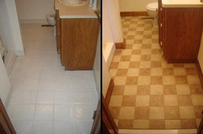 Bathroom Vanity Combo on Bathroom Tile Floor Makeover